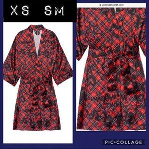 Victoria secret silky satin kimono red graffiti